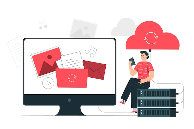Cloud-sync-konzept illustration Kostenlosen Vektoren