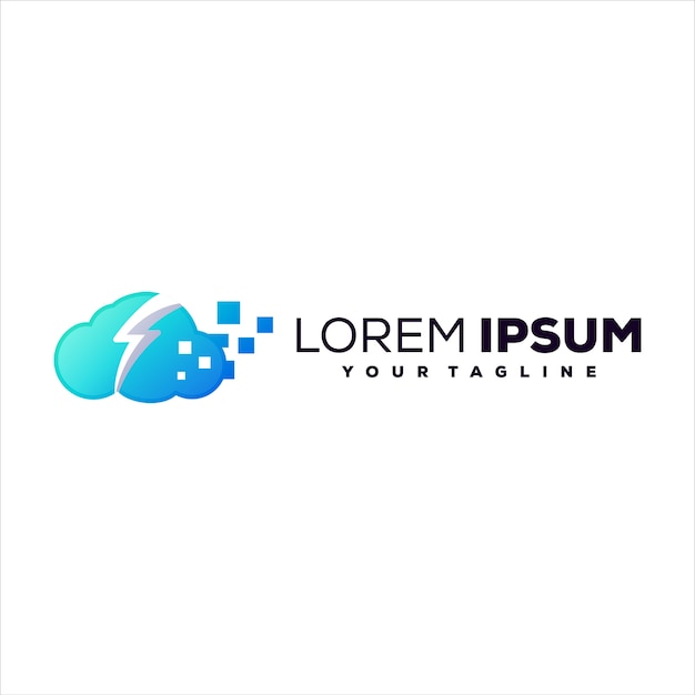 Cloud tech gradient logo design Premium Vektoren
