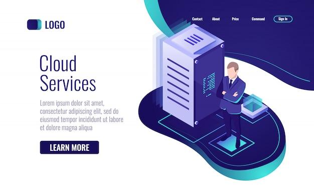 Cloud-technologie, das dienstkonzept für die datenspeicherung und informationsverarbeitung Kostenlosen Vektoren