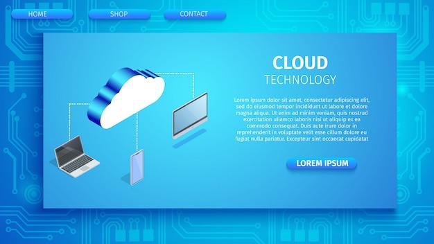 Cloud-technologie horizontale banner mit platz Premium Vektoren