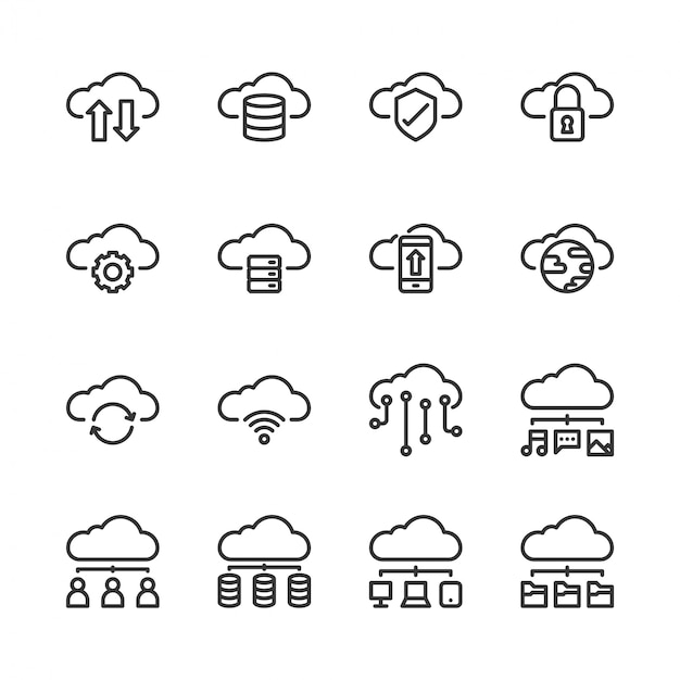 Cloud-technologie-icon-set Premium Vektoren