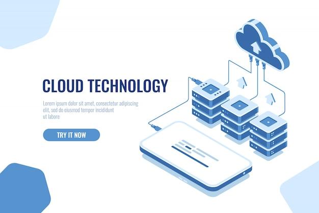 Cloud-technologie zum speichern und übertragen von daten isometrisch, herunterladen von mobiltelefonen Kostenlosen Vektoren