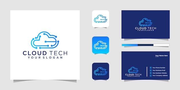 Cloud-technologien-logo. cloud-logo. bestes cloud-technologie-logo. cloud line art logo. cloud-chip-logo und visitenkarte Premium Vektoren