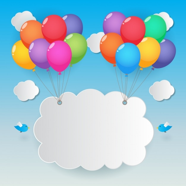 Cloud von ballons angehoben Kostenlosen Vektoren