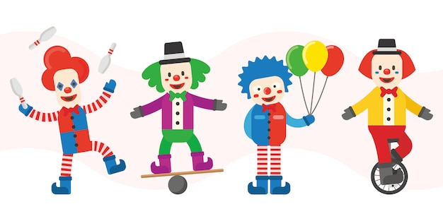 Clown-charaktere Premium Vektoren
