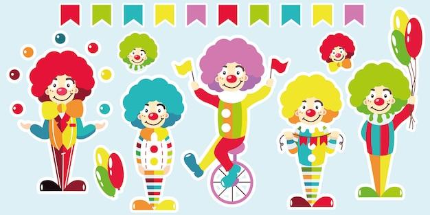 Clowns. set helle aufkleber. Premium Vektoren