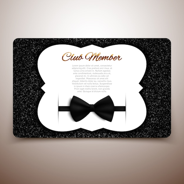 Club-mitgliedskarten-vorlage, gentlemen club, vip-karte, schwarzer bogen Premium Vektoren