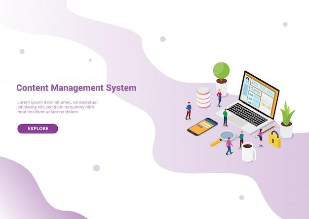 Cms content management system-konzept für website-vorlage oder landing homepage Premium Vektoren