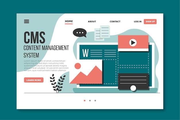 Cms website flaches design Premium Vektoren