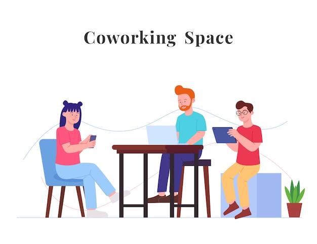 Co arbeitsraum konzept flache illustration menschen sitzen genießen mit gadget Premium Vektoren