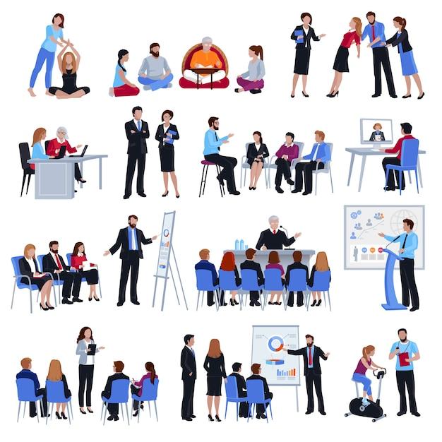 Coaching mentoring jüngerschaft flache icons set Kostenlosen Vektoren