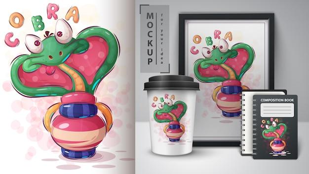 Cobra hypnose illustration und merchandising Premium Vektoren