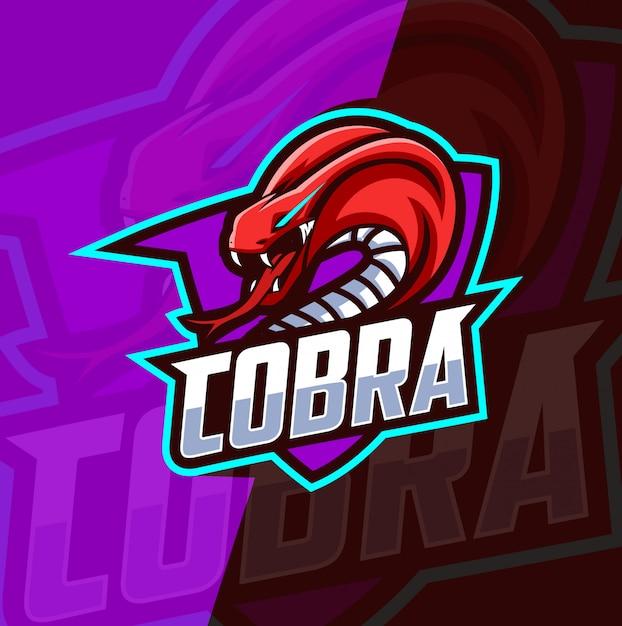 Cobra maskottchen esport logo design Premium Vektoren