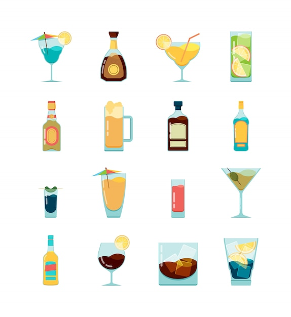 Cocktail alkoholische ikone. martini wodka und verschiedene alkoholische sommergetränke flache bilder Premium Vektoren
