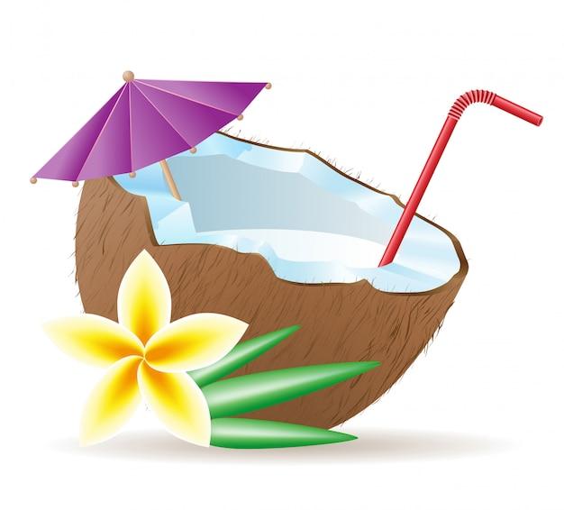 Cocktail aus kokosnuss Premium Vektoren