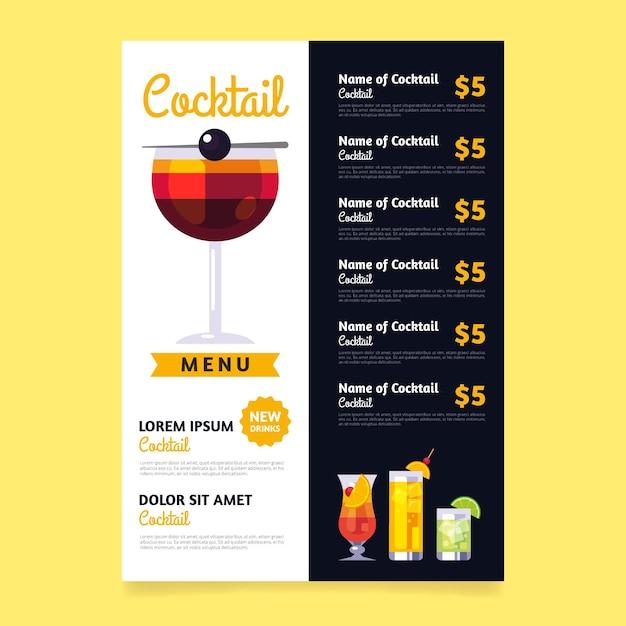 Cocktail getränkekarte konzept Kostenlosen Vektoren