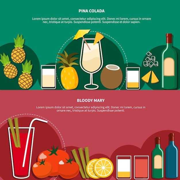 Cocktail horizontale banner Kostenlosen Vektoren