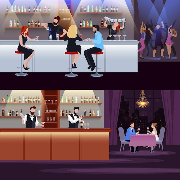 Cocktail menschen zusammensetzung set Kostenlosen Vektoren