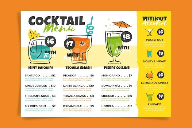 Cocktail-menüvorlage Kostenlosen Vektoren
