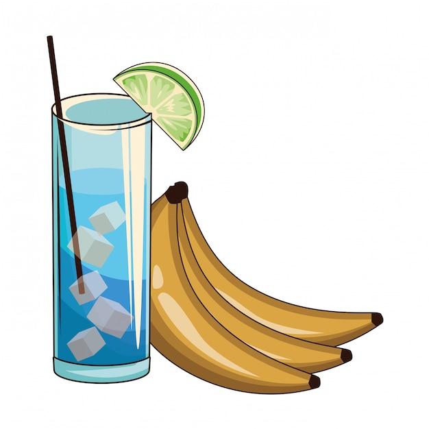 Cocktail mit bananen Premium Vektoren