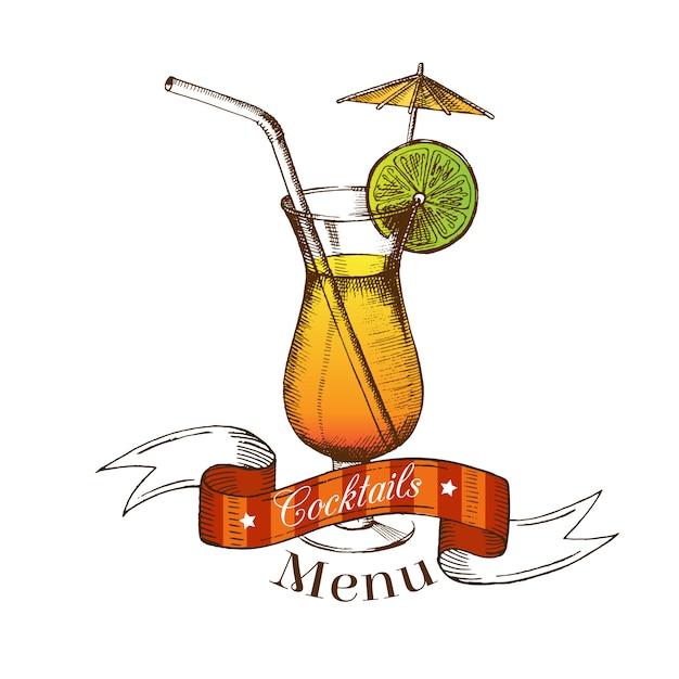 Cocktail mit kalk, stroh, regenschirm und farbband Premium Vektoren