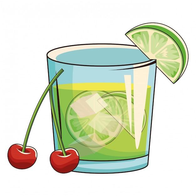 Cocktail mit kirschen Premium Vektoren
