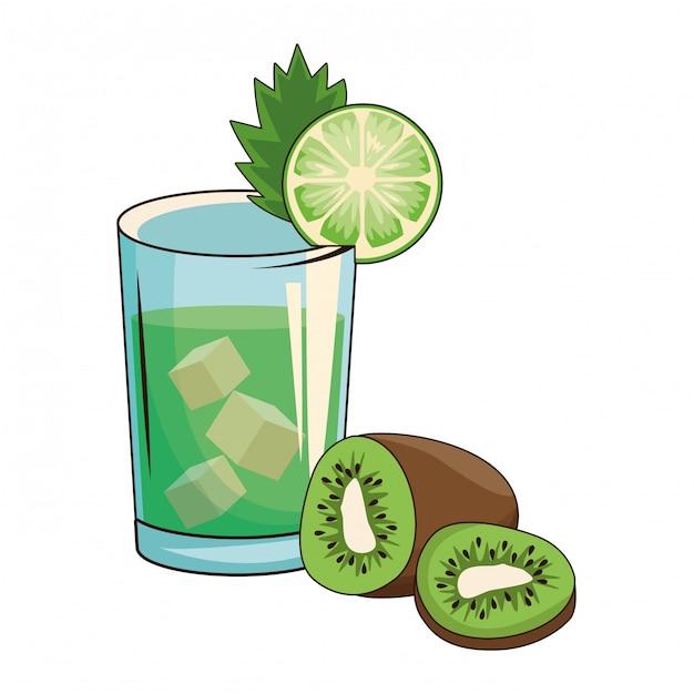 Cocktail mit kiwi Premium Vektoren