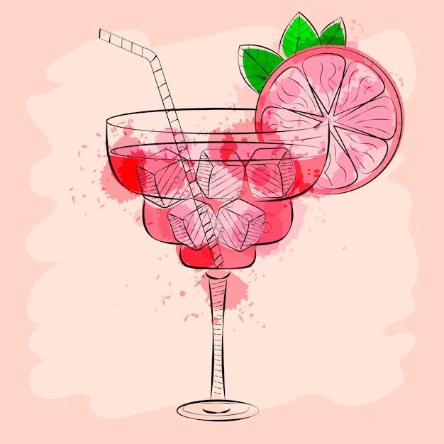 Cocktail mit rosa gezeichneter vektorillustration der pampelmuse hand Premium Vektoren