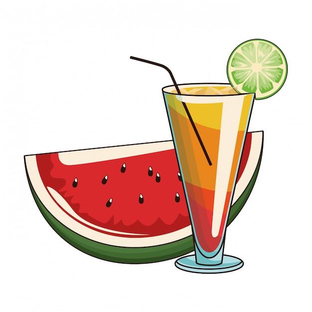 Cocktail mit wassermelone Premium Vektoren