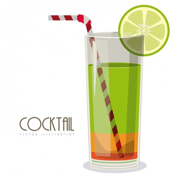 Cocktail mit zitronenillustration Premium Vektoren