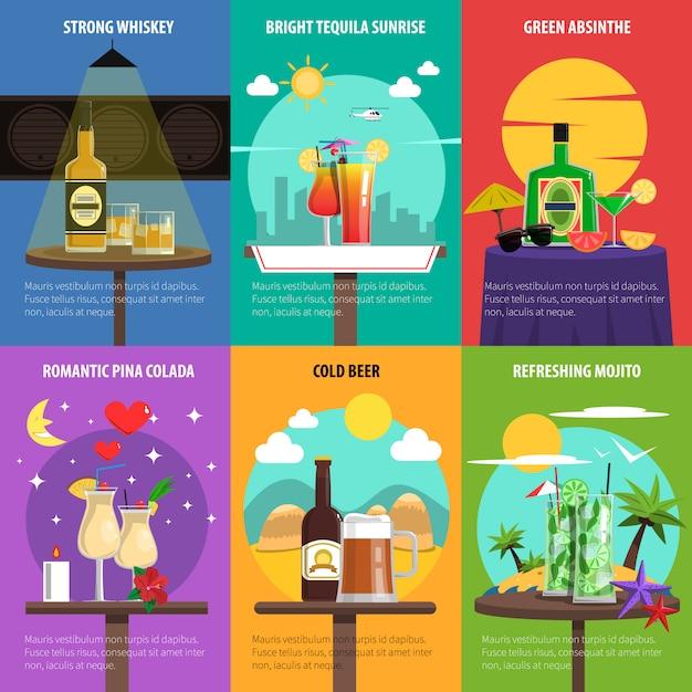 Cocktail-poster-set Kostenlosen Vektoren