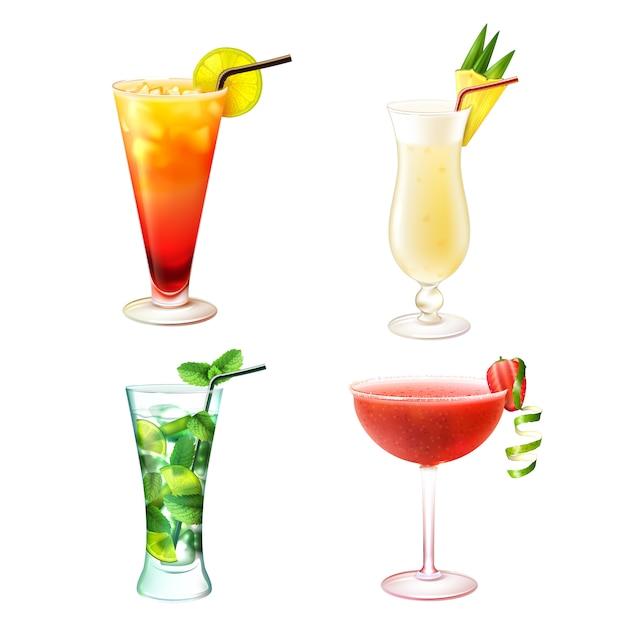 Cocktail realistisch eingestellt Kostenlosen Vektoren