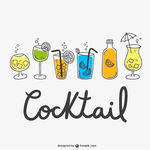 Cocktail zeichnungen packen Premium Vektoren