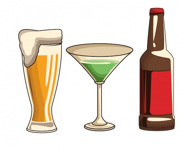 Cocktailbier und flasche Premium Vektoren