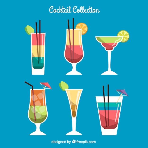 Cocktailkollektion mit flachem design Kostenlosen Vektoren