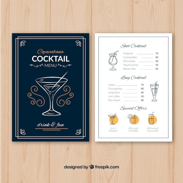Cocktailmenüschablone mit flachem design Kostenlosen Vektoren