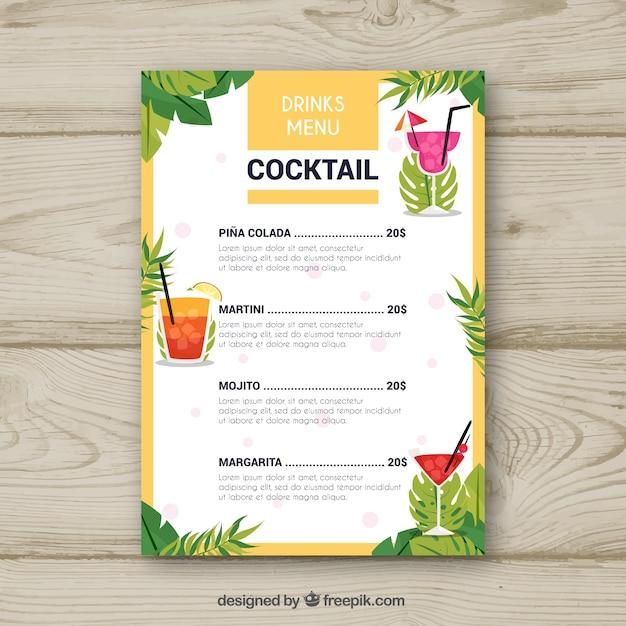 Cocktailmenüschablone mit palmblättern Kostenlosen Vektoren