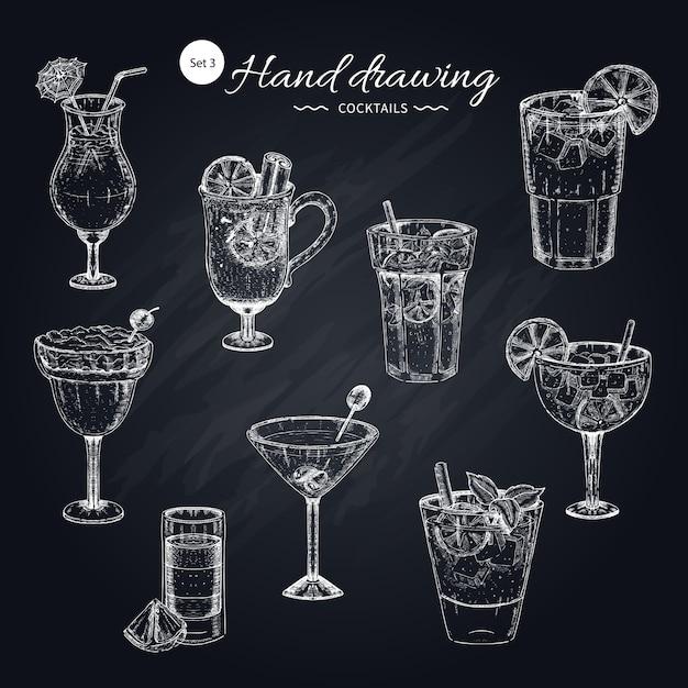 Cocktails handgezeichnete sammlung Kostenlosen Vektoren