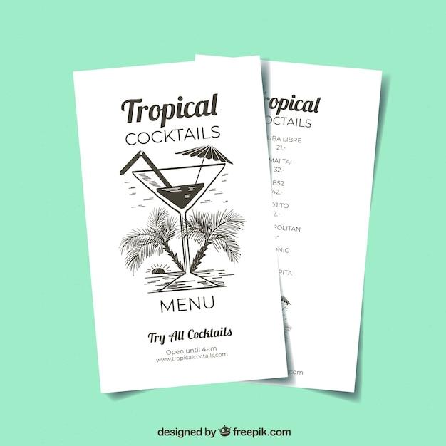 Cocktails Menüvorlage | Download der kostenlosen Vektor