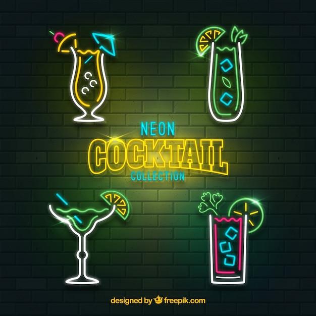 Cocktailsammlung mit neonlichtstil Kostenlosen Vektoren