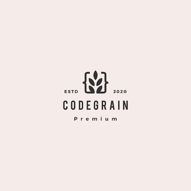Code korn blatt verlässt logo hipster retro vintage für web front back end entwickler Premium Vektoren