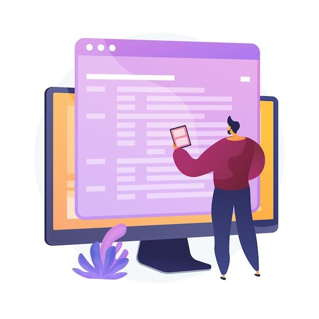 Codierung und website-entwicklung. technischer support. programmiertechnik. codierer, webentwickler, computersoftware. programmierer männlicher flacher charakter. Kostenlosen Vektoren