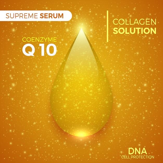 Coenzym. kollagenlösung. glänzend goldener tropfen des höchsten serums. kosmetische produkte verpacken. illustration. Premium Vektoren