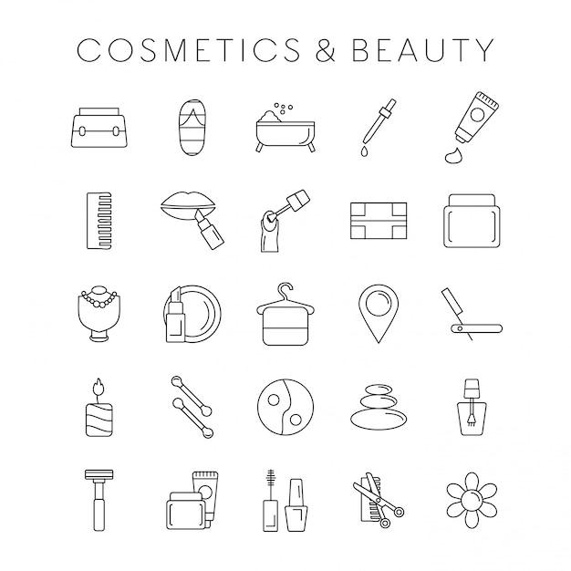 Coesmetic und schönheitsikonen eingestellt Kostenlosen Vektoren