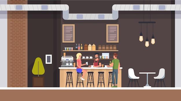 Coffe shop interieur Premium Vektoren