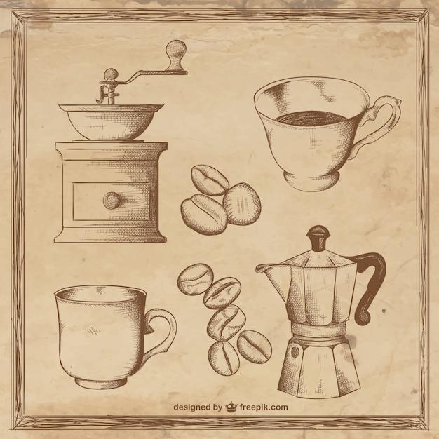 Coffee illustrationen Kostenlosen Vektoren
