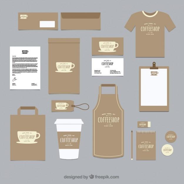 Coffee-shop corporate identity mit einer tasse Premium Vektoren