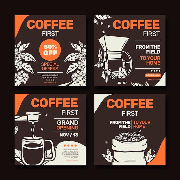 Coffee shop instagram beiträge Kostenlosen Vektoren