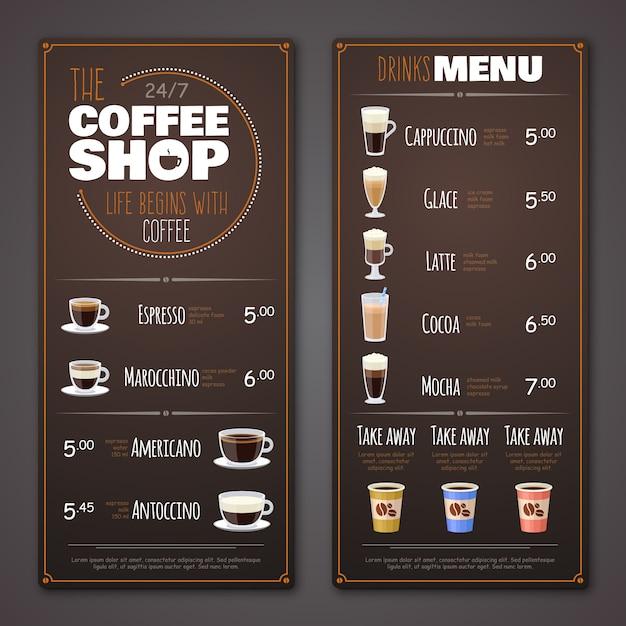 Coffee-shop-menüvorlage Premium Vektoren