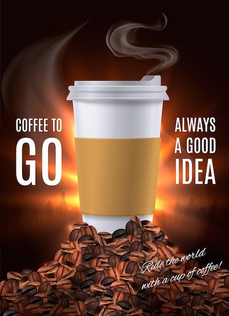Coffee to go anzeige zusammensetzung Kostenlosen Vektoren